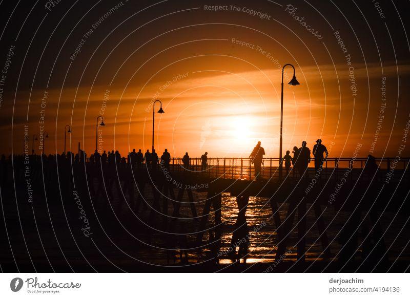 Ein besonderes Abend  Schauspiel oder Spektakel,  auf der Seebrücke , daß fast jeden Abend statt findet. Ein paar Figuren auf dem Steg  lassen sich das nicht entgehen.