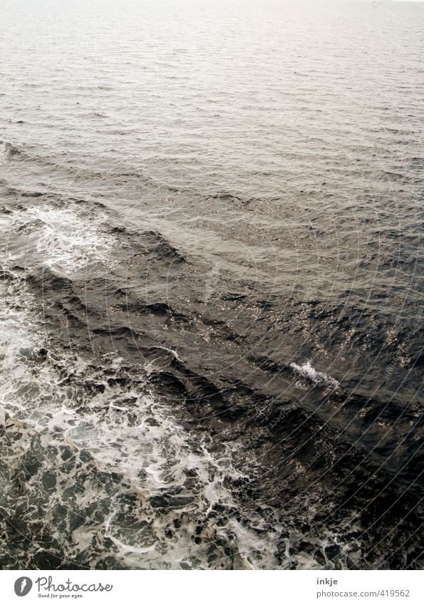 groß, schwarz, stark Urelemente Wasser Wellen Meer Schifffahrt Fähre An Bord bedrohlich dunkel kalt weiß Ferne überall Überfahrt Gischt Meerwasser Wellengang