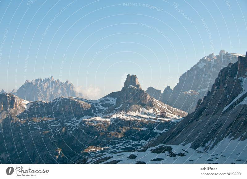 777 Schritte Umwelt Natur Landschaft Himmel nur Himmel Wolkenloser Himmel Klima Schönes Wetter Eis Frost Schnee Felsen Alpen Berge u. Gebirge Gipfel