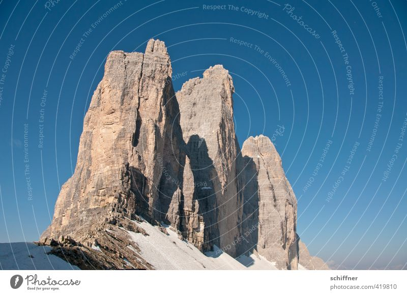 Die Spinnen, die 3 Zinnen Umwelt Natur Landschaft Wolkenloser Himmel Sonnenaufgang Sonnenuntergang Sonnenlicht Klima Schönes Wetter Schnee Felsen Alpen