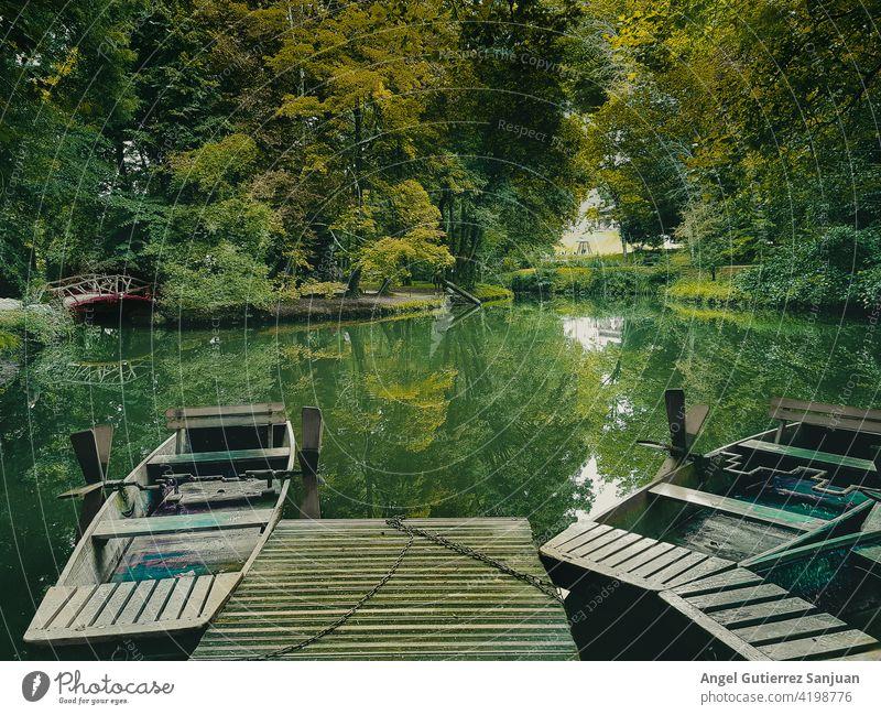 Kanus auf dem Fluss mit grünem Hintergrund Wasser Sport Natur Urlaub Wald Sommer reisen Luftaufnahme horizontal Erholung Reflexion & Spiegelung Landschaft Mann