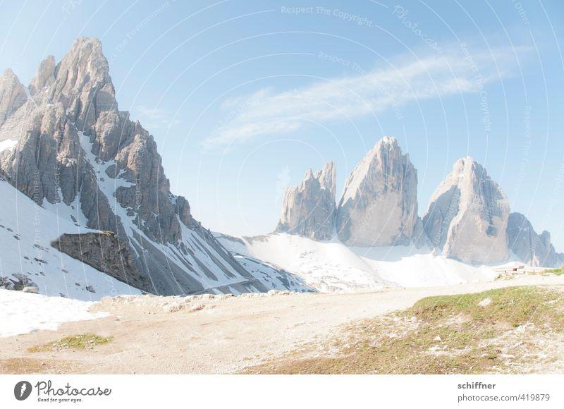 Highlight Umwelt Natur Landschaft nur Himmel Sonnenlicht Schönes Wetter Eis Frost Schnee Felsen Alpen Berge u. Gebirge Gipfel Schneebedeckte Gipfel Schlucht