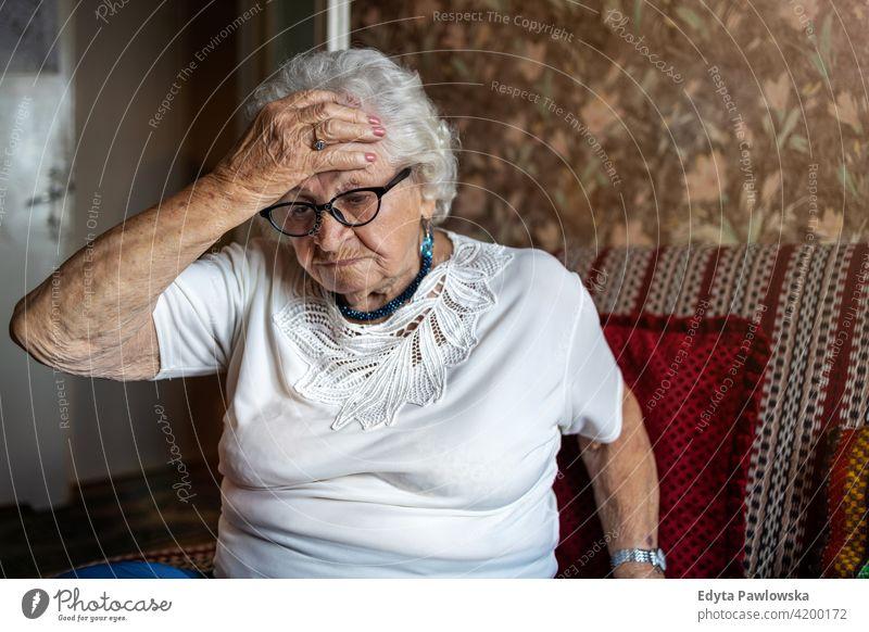 Porträt einer älteren Frau in einem Zustand der Sorge zu Hause e people Senior reif lässig Kaukasier heimwärts alt Alterung häusliches Leben Großmutter