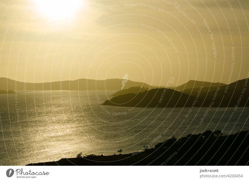 ruhiger Abschied vom sonnigen Tag Torres-Straße Australien Schönes Wetter Abenddämmerung Panorama (Aussicht) Thursday Island Weitwinkel Gegenlicht