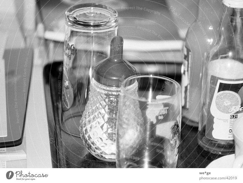 Zucker Dinge Milch und Zucker Glas Schwarzweißfoto