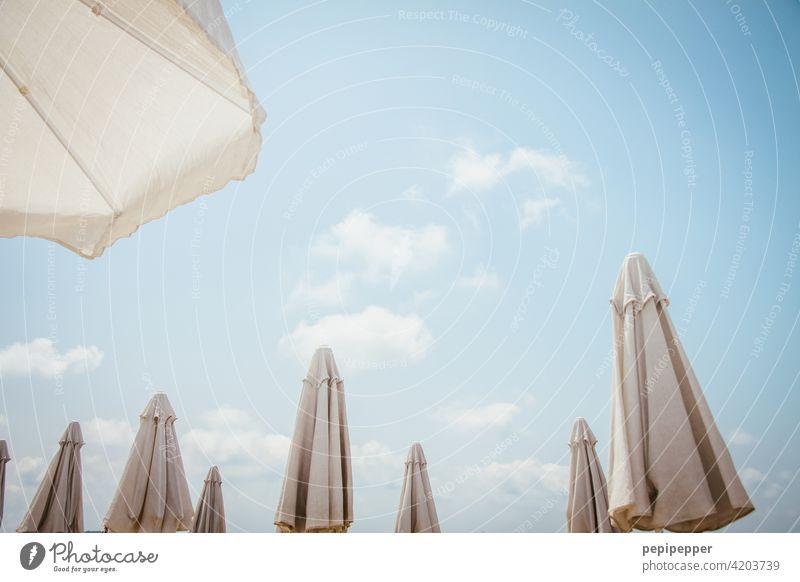 Sonnenschirme Sonnenliegen Sommer Außenaufnahme Meer Erholung Menschenleer Ferien & Urlaub & Reisen Farbfoto Strand Sand Himmel Küste Tourismus Sommerurlaub