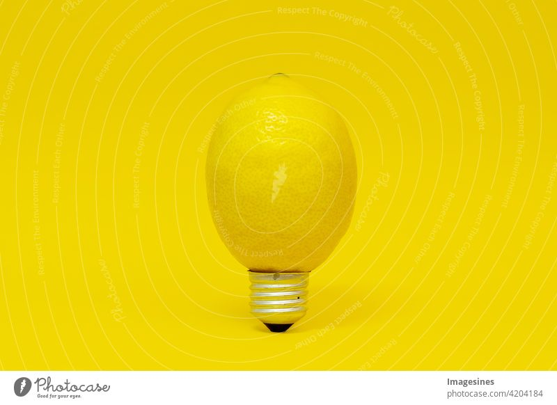 Reife elektrische Zitrone Kreativ Konzept Lebensmittel gesundheit diät frucht Form Glühbirne Öko gelb Hintergrund hell Zwiebel Zitrus kreativ Küche Design