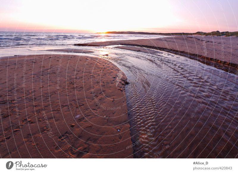 Strand-Fluss Sonnenuntergang Mittsommer in Sweden Natur Landschaft Sand Wasser Sonnenaufgang Sommer Schönes Wetter Nordlicht Wellen Küste Meer Schweden