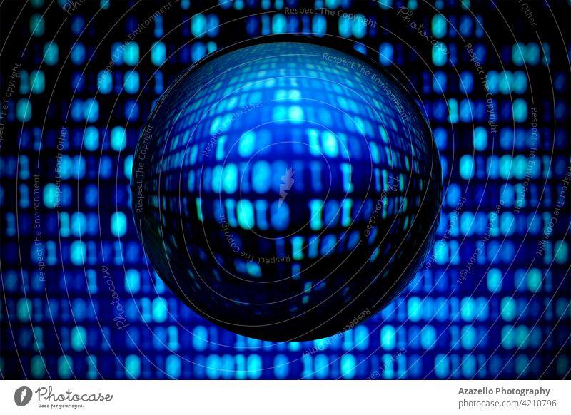 Unscharfer Binärcode-Hintergrund mit verzerrtem Blick durch eine Linsenkugel in Blau abstrakt abstraktes Objekt Algorithmus binär blau Code Kodierung Mitteilung