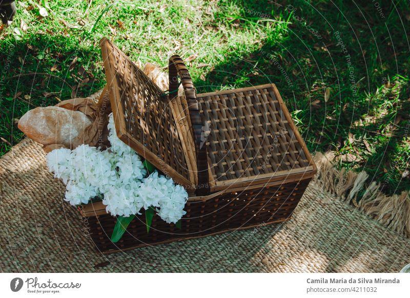 Picknickkorb mit Blumen und Broten Hintergrund Korb Blumenstrauß Camping Nahaufnahme Textfreiraum Landschaft Lebensmittel grün Freizeit natürlich Natur niemand