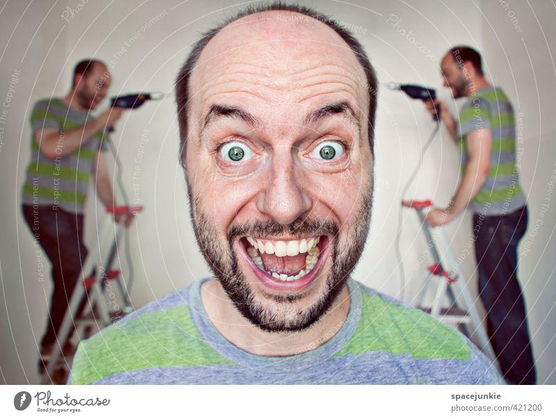 Schraube locker? Mensch maskulin Junger Mann Jugendliche Frau Erwachsene 3 30-45 Jahre Arbeit & Erwerbstätigkeit schreien grau grün Gefühle Freude reparieren