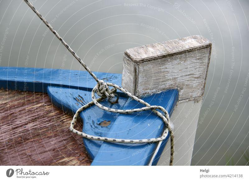 back to the roots    Bug eines alten kleinen Fischerbootes auf dem Wasser, Detailaufnahme Boot Leine Schnur Holz Nahaufnahme Knoten festgebunden maritim Seil