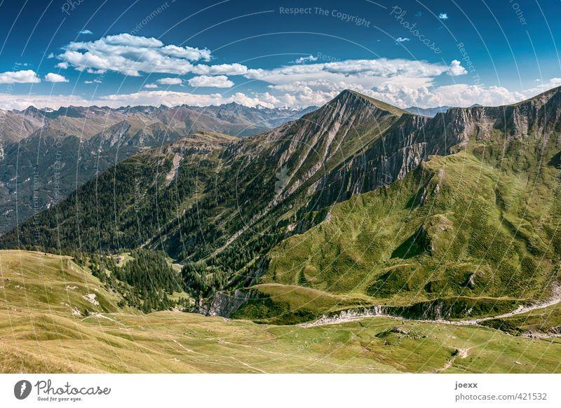 ´`^^/\´ Himmel Natur Ferien & Urlaub & Reisen blau grün weiß Sommer ruhig Landschaft Wolken Ferne Berge u. Gebirge Wiese Wege & Pfade Freiheit Horizont