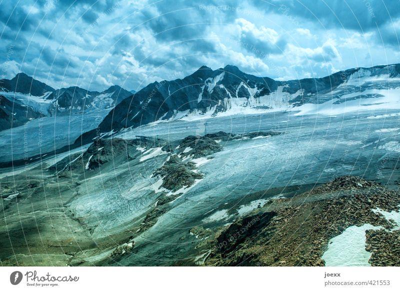 Gletscher-Eis Himmel blau grün weiß Landschaft Wolken schwarz kalt Berge u. Gebirge Schnee braun groß hoch Vergänglichkeit Frost