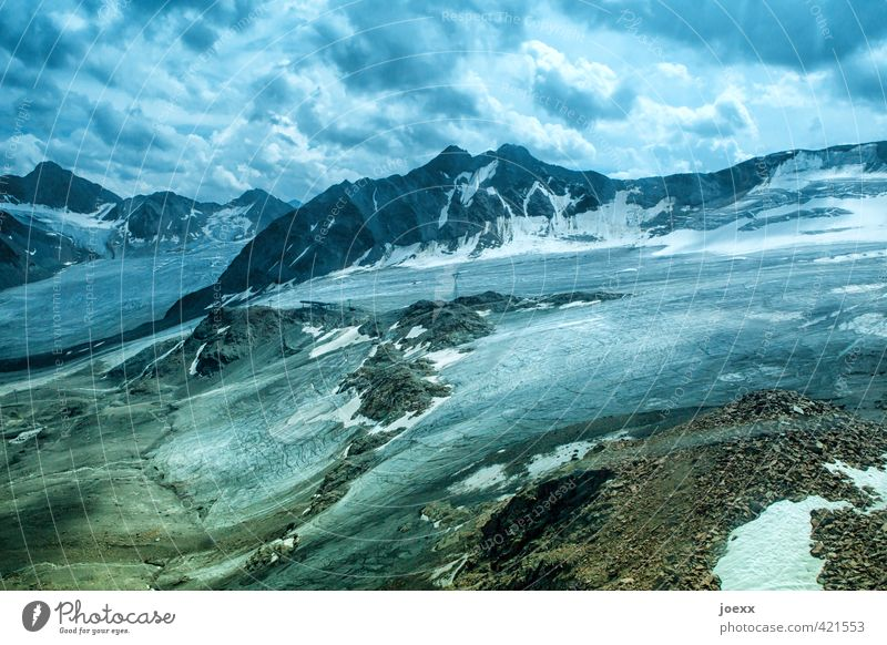 Gletscher-Eis Landschaft Himmel Wolken Klimawandel schlechtes Wetter Frost Schnee Alpen Berge u. Gebirge Gipfel gigantisch groß hoch blau braun grün schwarz