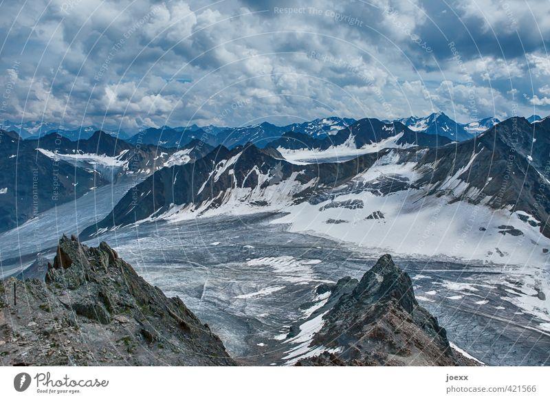 Rückzug Ferne Berge u. Gebirge Natur Landschaft Himmel Wolken Horizont Klimawandel Schönes Wetter Alpen Schneebedeckte Gipfel gigantisch groß hoch kalt oben
