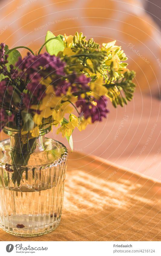 Detailaufnahme einer Glasvase mit gelber und lila Blüte und unscharfem Hintergrund Blumenvase Dekoration & Verzierung Schwache Tiefenschärfe