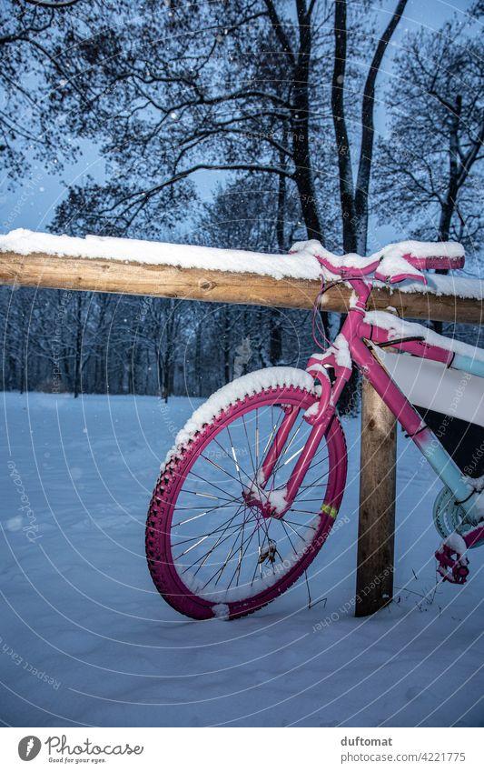 Rosa Fahrrad im Winter Schnee Rad fahrrad Speichen Reifen Außenaufnahme Verkehrsmittel Menschenleer Metall parken Fahrradfahren Mobilität Bewegung