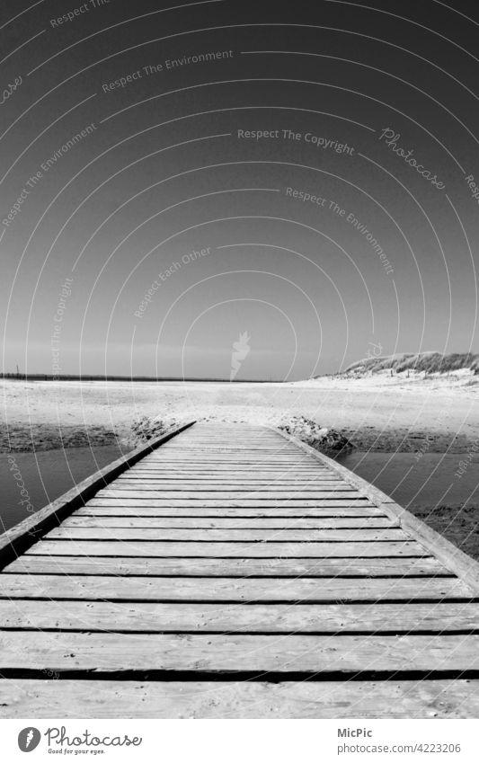 Long Way Brücke zum Strand Schwarzweißfoto holzweg holzbrücke steg strand sand meer Wandern gehen Natur Landschaft Wege & Pfade Außenaufnahme Menschenleer