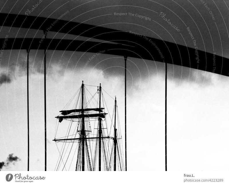 Segelschiff Masten Hafen Hamburg Museumsschiff Elbe Rickmers Rikmer Himmel Brücke Wolken Schifffahrt Hafenstadt Hamburger Hafen Stadt Sehenswürdigkeit