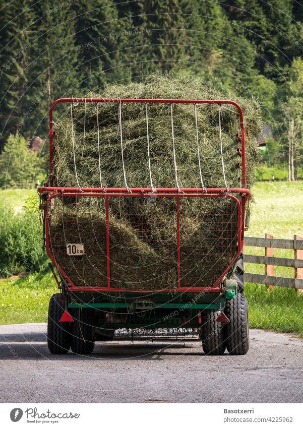 Heuernte in den Alpen. Abgestellter Anhänger voll Heu. Stubai, Tirol, Österreich. Gras mähen Traktor Trecker langsam 10 km 10 km/h Struktur Gerüst Aufbau