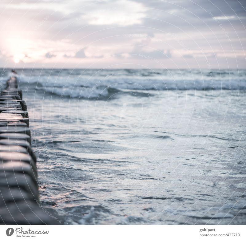 Wellenrauschen lauschen Natur Landschaft Urelemente Wasser Himmel Horizont Sonnenaufgang Sonnenuntergang Sommer Küste Ostsee Meer Unendlichkeit natürlich