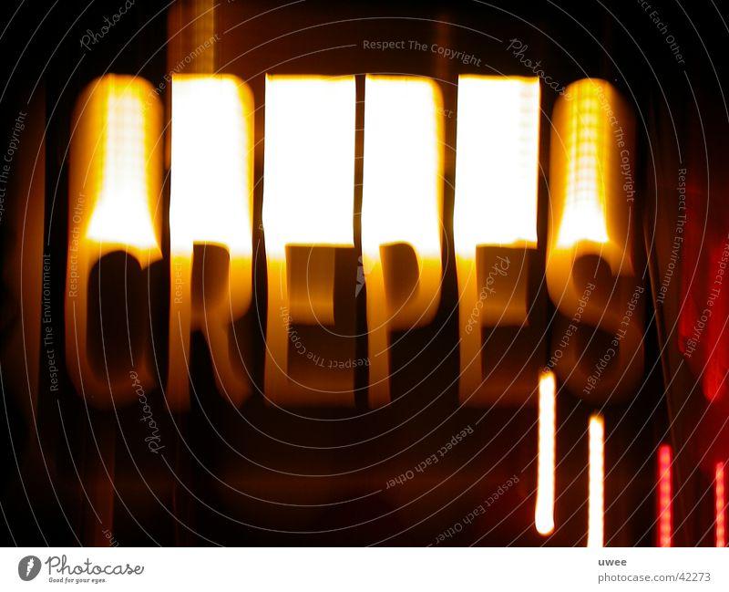 crepes sign Ernährung Licht Nacht Sommer vrep Crêpe stehen Schriftzeichen Zeichen Musikfestival Unschärfe