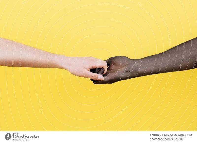 Weiße Hand und schwarze Hand umklammert auf gelbem Hintergrund Menschen Freundschaft Zusammensein Afrikanisch international Partnerschaft Haut Einheit