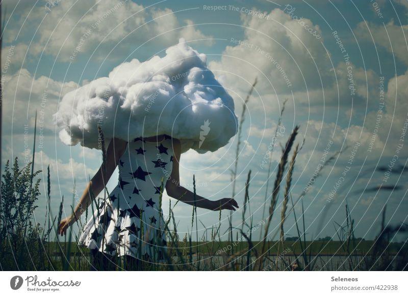 Dreamer harmonisch Zufriedenheit Ausflug Freiheit Mensch feminin Frau Erwachsene 1 Umwelt Natur Landschaft Himmel Wolken Stern Horizont Pflanze Gras Wiese Küste