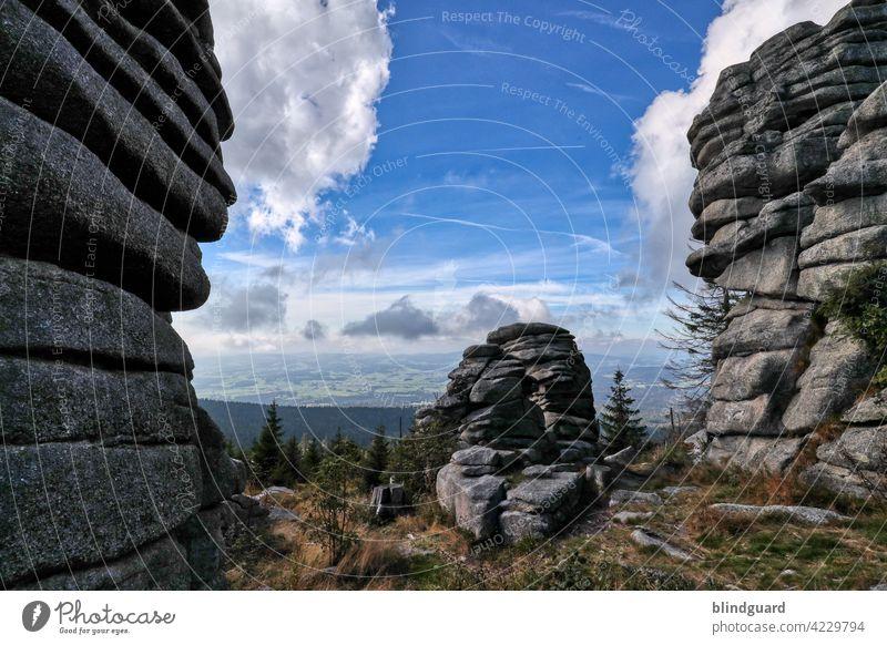 Dreisessel Felsformation Berge Felsen Wald Landschaft Berge u. Gebirge Außenaufnahme Farbfoto Himmel Wolken Baum Menschenleer Umwelt Natur Gipfel Tag