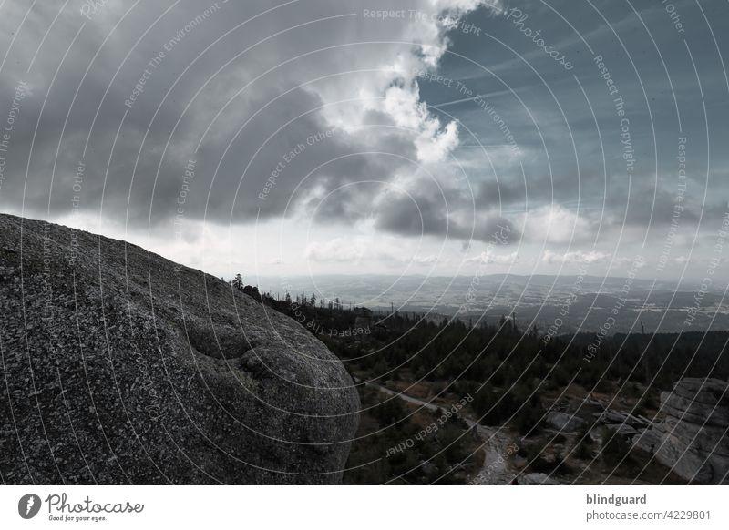 Blick Richtung Bayern Fels Wald Stein Wetter Landschaft Himmel Natur Felsen Außenaufnahme Gebirge Berge u. Gebirge Tag Menschenleer Panorama Dreisessel Farbfoto