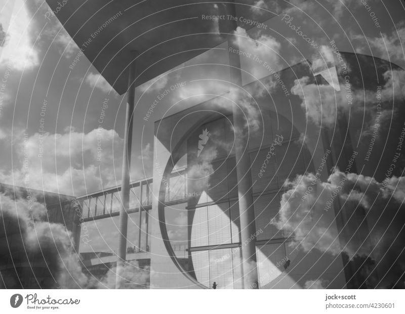Haus in den Wolken Marie-Elisabeth-Lüders-Haus Moderne Architektur Stil Parlamentsgebäude Säule Doppelbelichtung Berlin-Mitte Fassade Steg Schwarzweißfoto