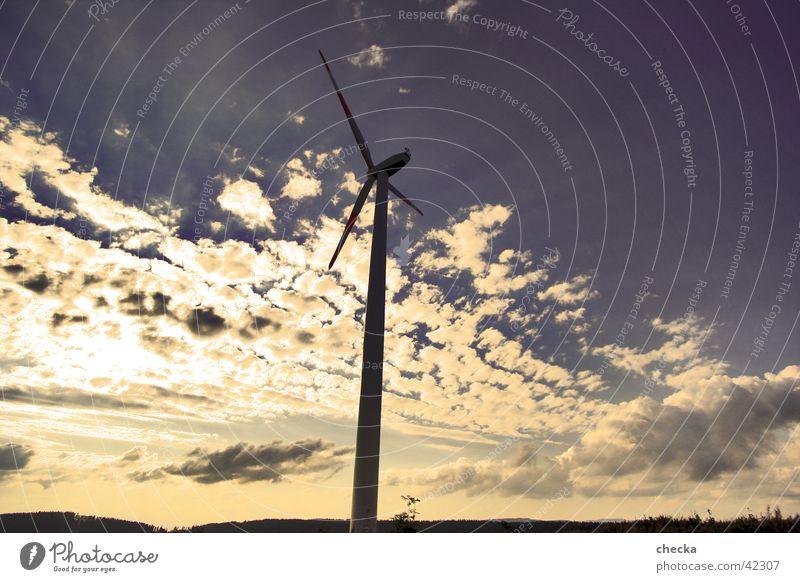 Windkraft Windkraftanlage Wolken Elektrisches Gerät Technik & Technologie Energiewirtschaft Himmel