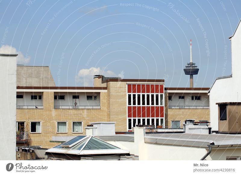 über den Dächern Köln Stadt Himmel Skyline Fernsehturm Bauwerk Architektur Wahrzeichen Gebäude Perspektive Nordrhein-Westfalen Stadtzentrum Telekommunikation