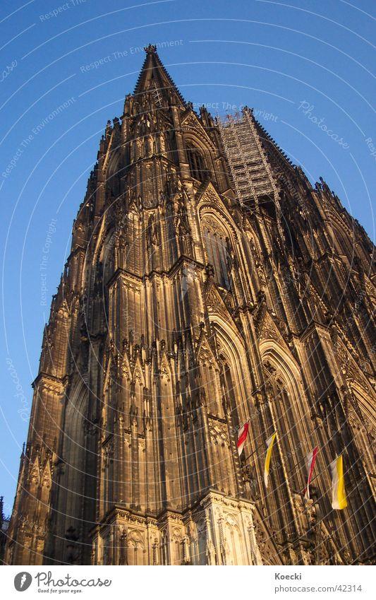 D'r Dom in Kölle Farbfoto Außenaufnahme Tag Dämmerung Licht Schatten Kontrast Rücken Kirche Turm Fassade Sehenswürdigkeit Wahrzeichen Religion & Glaube