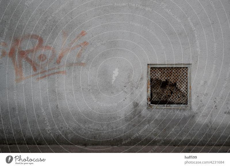 Brüchiges Lüftungsgitter mit Grafitto lüftungsgitter Lüftungsschacht Riss dreckig düstere Stimmung dunkel Mauer Fassade Tristesse Verfall urban trist Wand grau