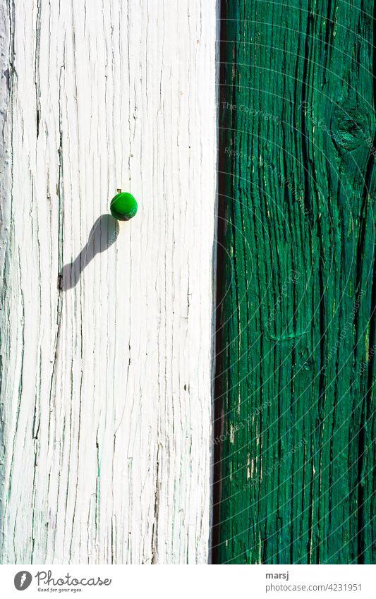 Grün-weiß. Farblich abgestimmt. grün alt verwittert Holz Stil rissig Design solide gerissen Holzmaserung Holzwand Pin Stecknadel Schatten geteilt Sonnenlicht