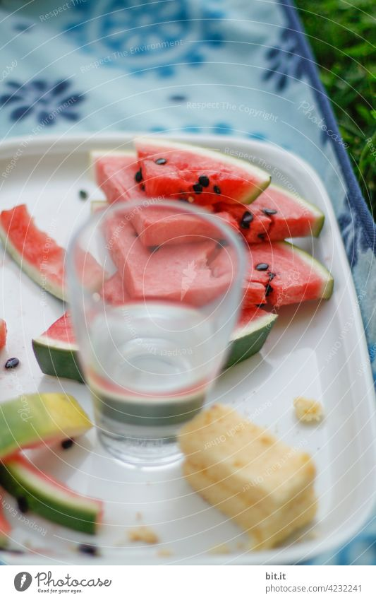 Wasser - Melone Melonen geschnitten aufgeschnitten Frucht rot Lebensmittel Ernährung lecker frisch Vegetarische Ernährung Bioprodukte Gesundheit Diät saftig