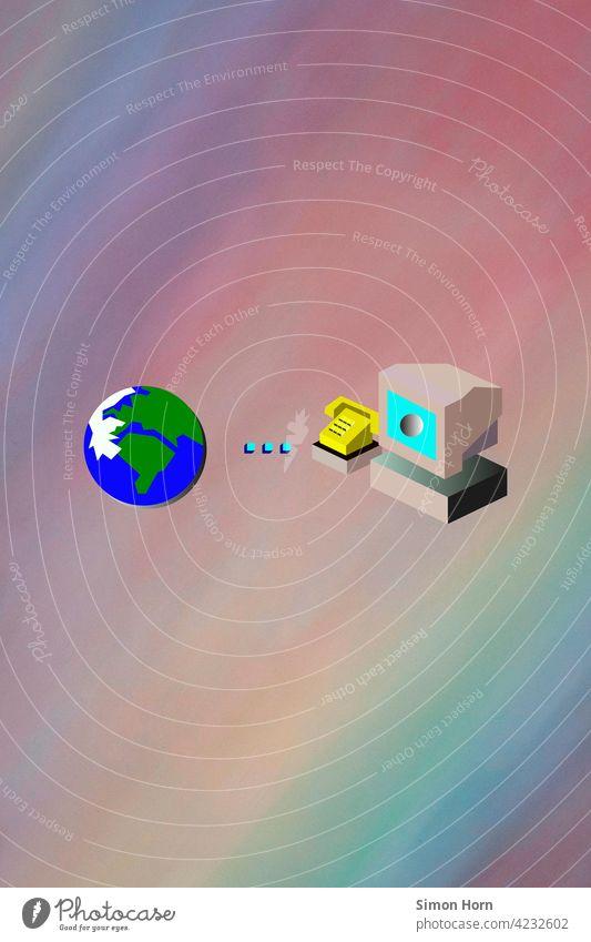 World Wide Web – Grafik Internet Kommunikation Website Verbindung Symbole & Metaphern Homepage Weltkugel global Modem Telefon Kabel Teleportation