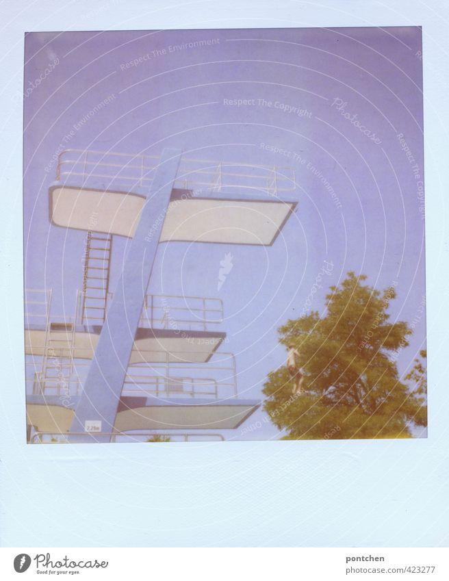 Polaroid. Blauer Sprungturm blauer Himmel, grüner Baum. Freiheit, Mut Freizeit & Hobby maskulin Junge Kindheit Jugendliche springen Sprungbrett Schwimmbad