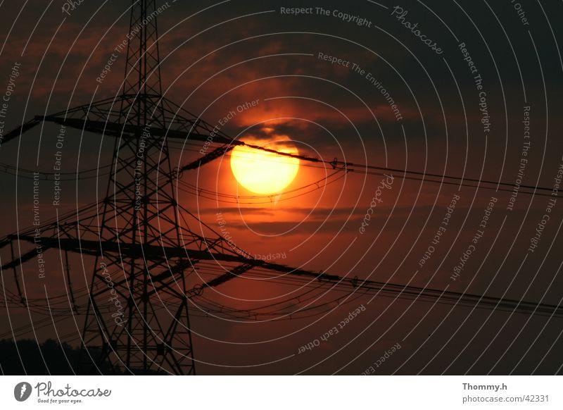 Energie im Doppelten Sinne Sonne Elektrizität Strommast