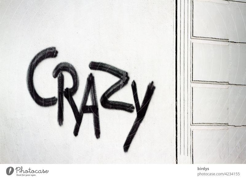Crazy , schwarzes Grafitti auf weißer Hauswand crazy verrückt Schriftzeichen Graffiti englisch ungewöhnlich durchgeknallt anders universell wertend beschreibend