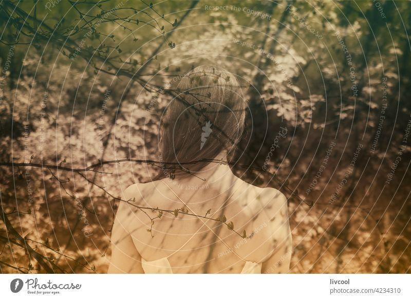 Frau, die im Herbstwald spazieren geht Verlockung echte Menschen Schönheit reif Erwachsener Lifestyle Natur grün Park Hügel Baum verführerisch attraktiv Nizza