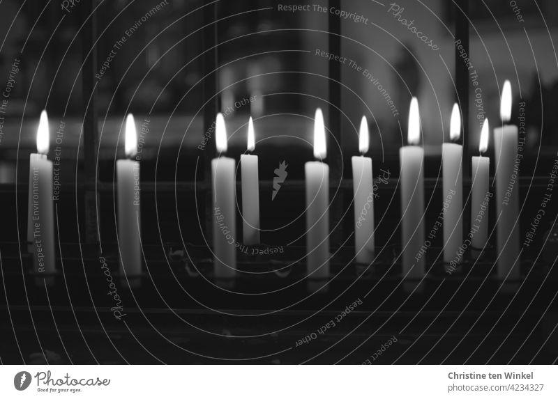 Kerzen in einer Kapelle Kerzenaltar Religion & Glaube Gedenken Trauer Hoffnung Liebe Gebet Kirche Christentum Licht Tod beten erinnern Kerzenschein