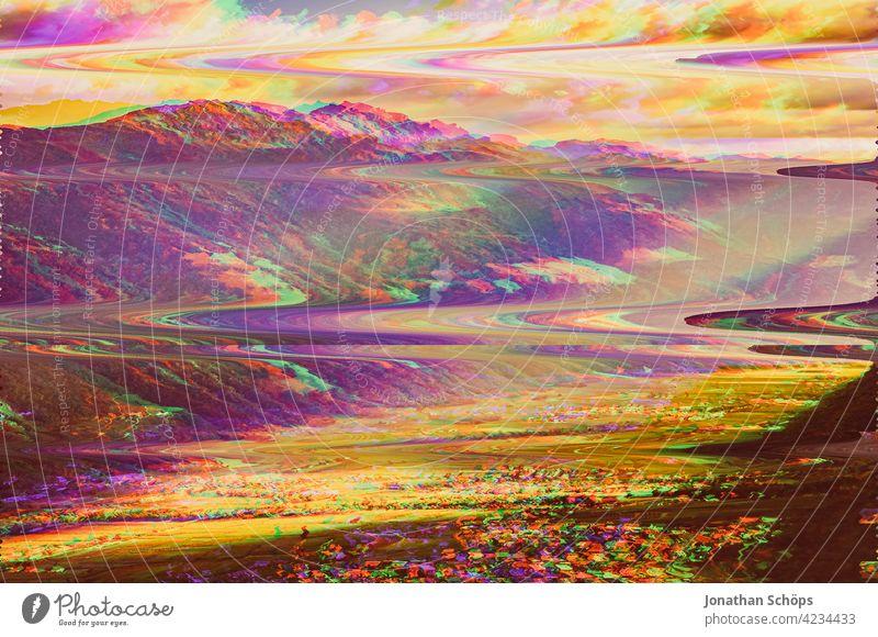 Südtirol Berge Landschaft Glitch Effekt Natur Außenaufnahme Menschenleer Umwelt Farbfoto Umweltschutz nachhaltig glitch effect Anaglyph fehler bunt hintergrund