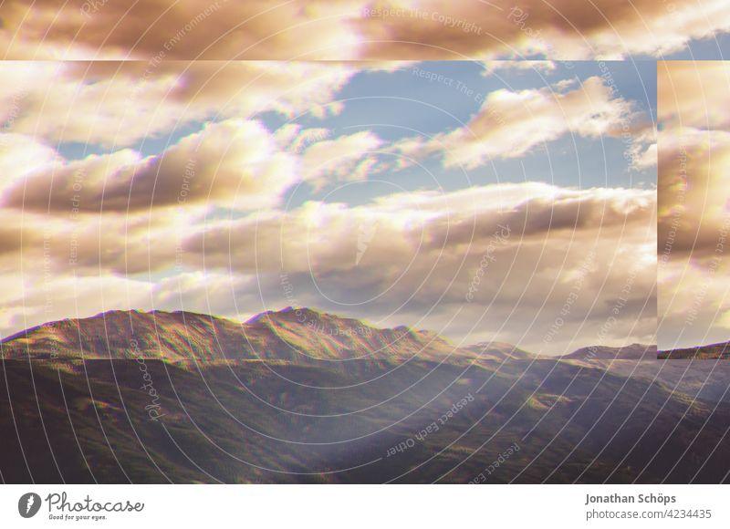 Südtirol Berge Himmel Landschaft Glitch Effekt Natur Außenaufnahme Menschenleer Umwelt Farbfoto Umweltschutz nachhaltig glitch effect Anaglyph fehler bunt