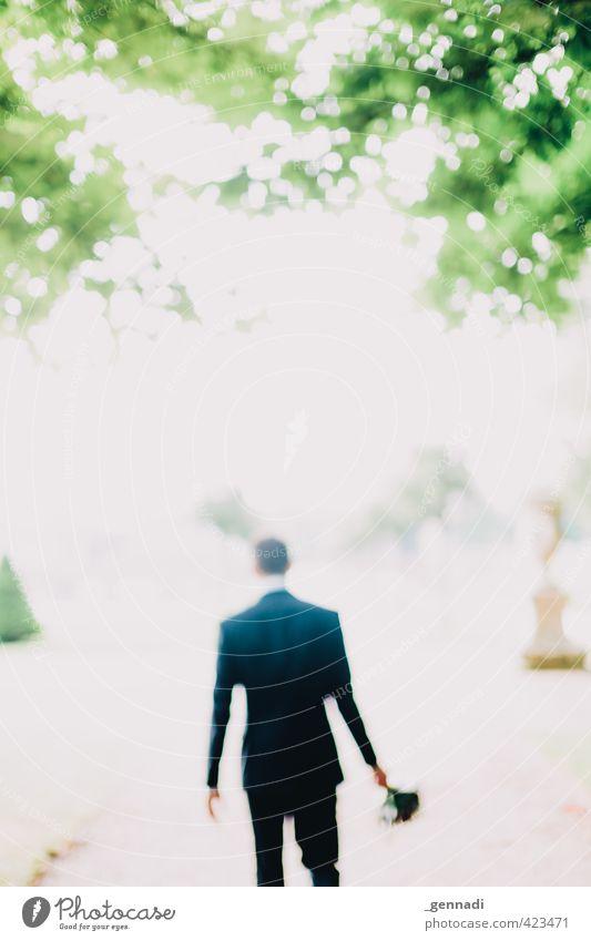 Groom Mensch Jugendliche Mann Baum Junger Mann Erwachsene 18-30 Jahre Glück gehen Körper maskulin Coolness Hochzeit Blumenstrauß Anzug Kino