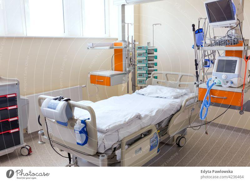 Aufnahme eines leeren Krankenhauszimmers Raum Bett Gesundheitswesen Medizin im Innenbereich Gerät Klinik Wiederherstellung Hilfsbereitschaft medizinisch