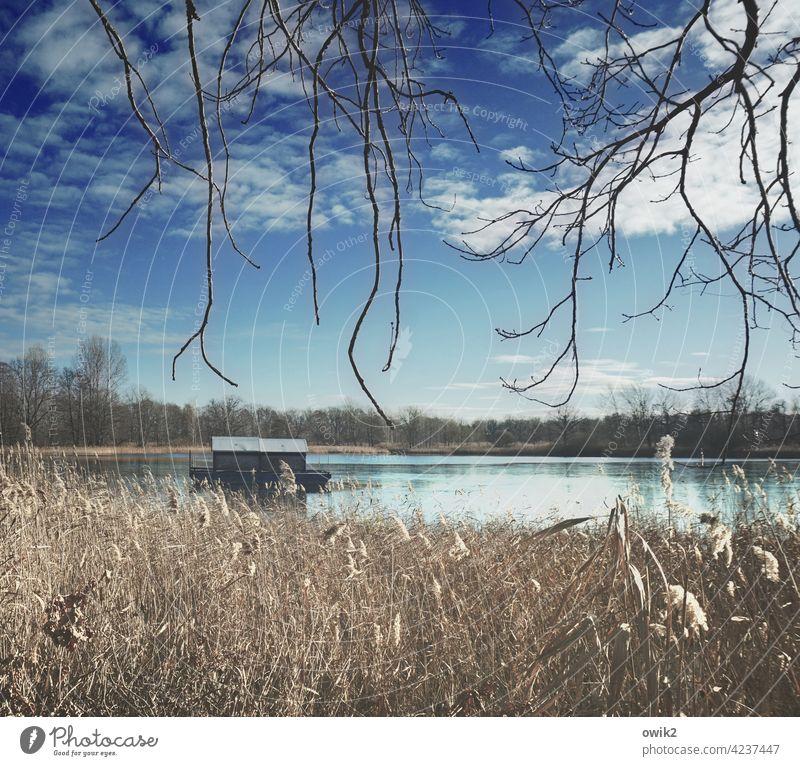Abwarten Hausboot Wasseroberfläche Wasserfahrzeug Weite Idylle Ruhe See Reflexion & Spiegelung Natur draußen Außenaufnahme Himmel Wolken ruhig Umwelt Landschaft