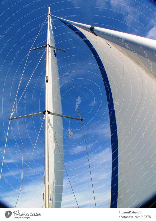 Takelage #1 Himmel weiß blau Ferien & Urlaub & Reisen Wolken Segeln Bayern Schifffahrt Strommast Segel Segelboot Kroatien Italien Takelage Wanten Genua